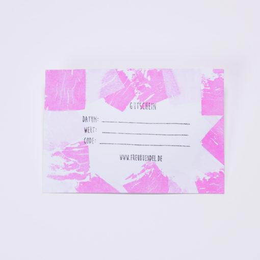 Handbedruckter Geschenk-Gutschein von Freubündel in rosa und pink