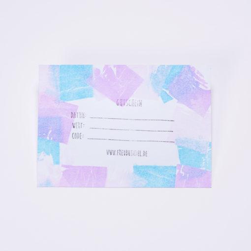 Handbedruckter Geschenk-Gutschein von Freubündel in blau, lila und rosa