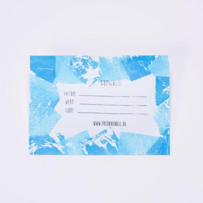 Handbedruckter Geschenk-Gutschein von Freubündel in blau und türkis