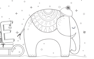 Ausmalbild E wie… Weihnachts-Elefant