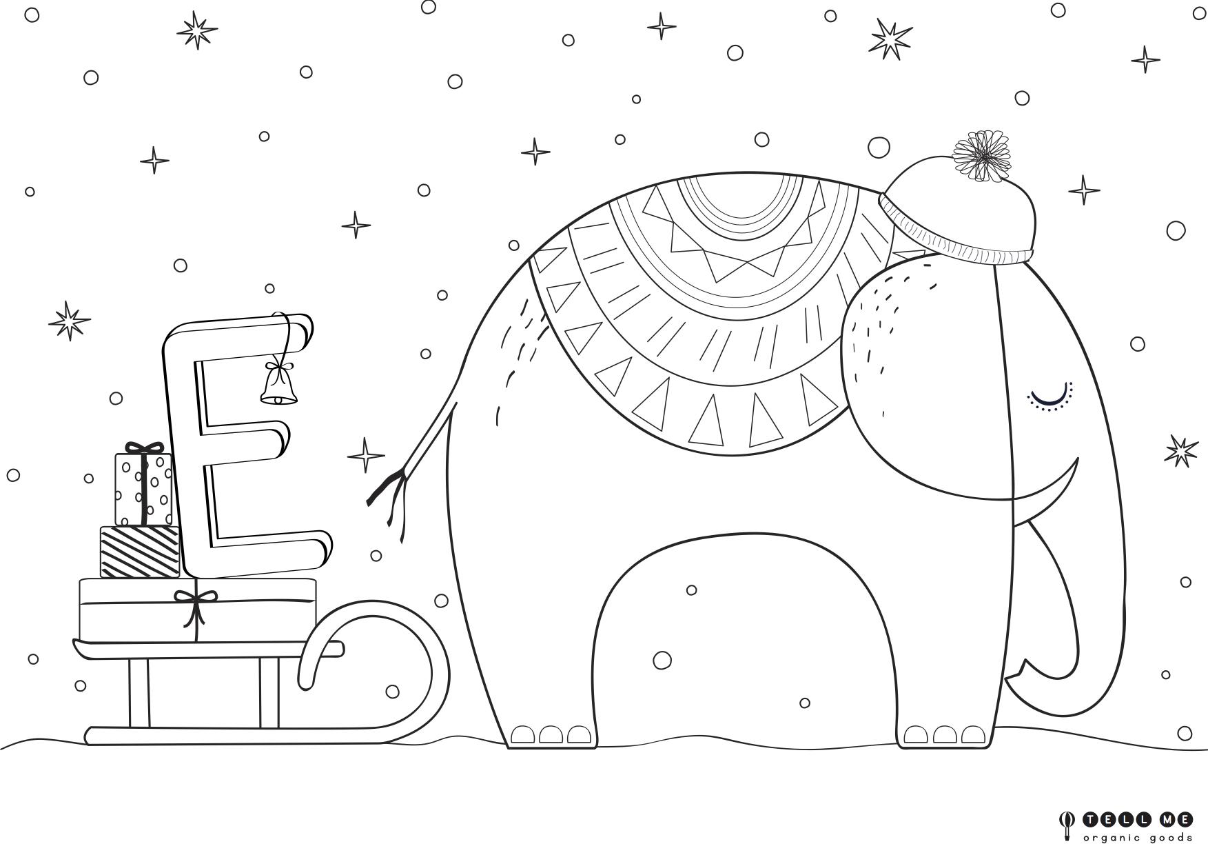 Ausmalbild E wie... Weihnachts-Elefant - Freubündel