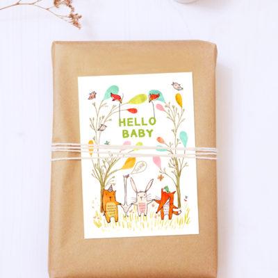 Postkarte Hello Baby von noull