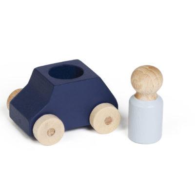Blaues Spielzeugauto aus Holz von Lubulona