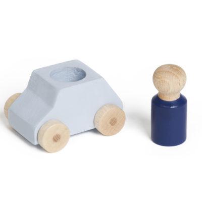 Graues Spielzeugauto aus Holz von Lubulona