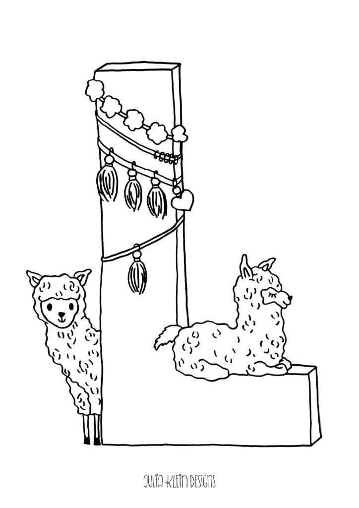 ausmalbild l wie lama von julia klein designs  freubündel