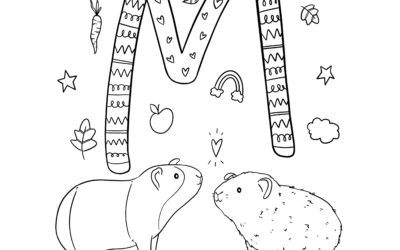 Ausmalbild M wie… verliebte Meerschweinchen von Alexa malt