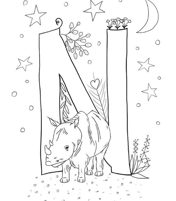 Ausmalbild N wie… Nashorn von Blattwerkstatt