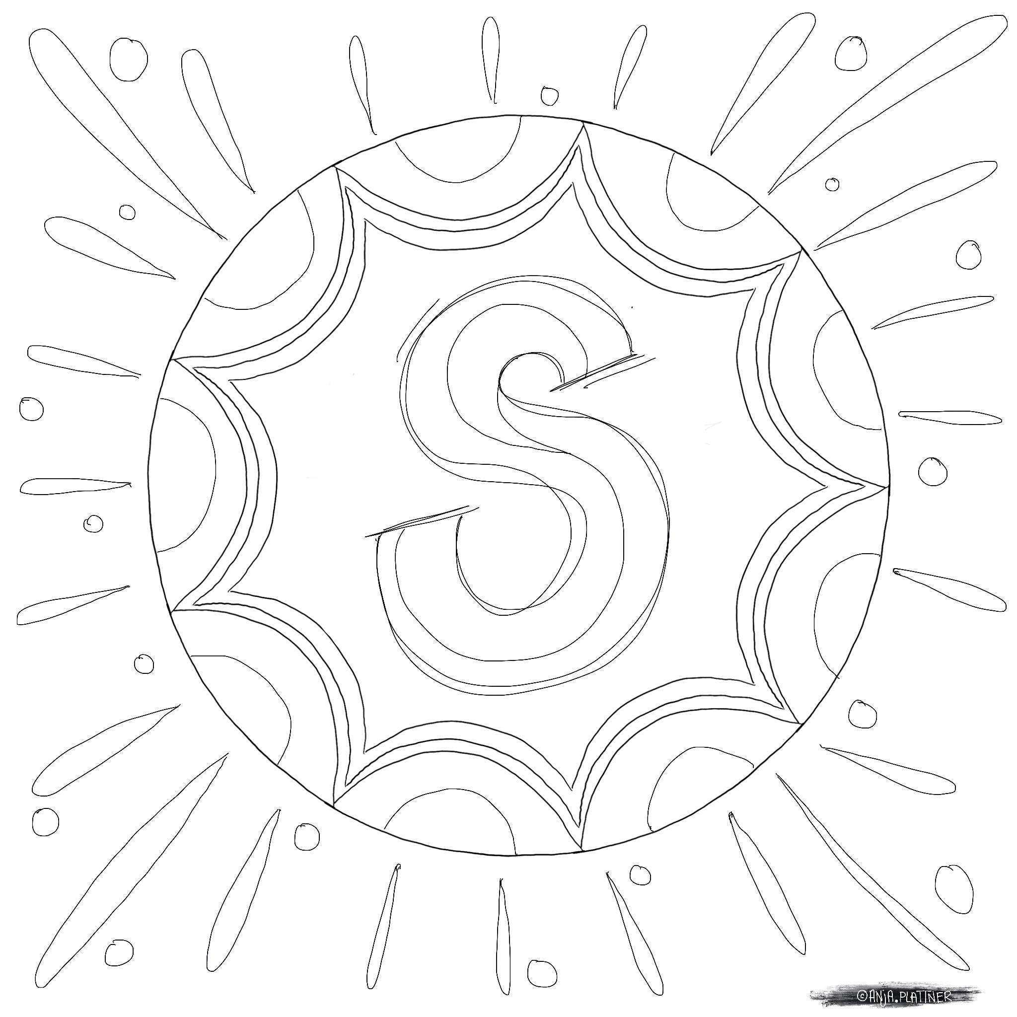 Ausmalbild S wie… Sonne von Anja Plattner