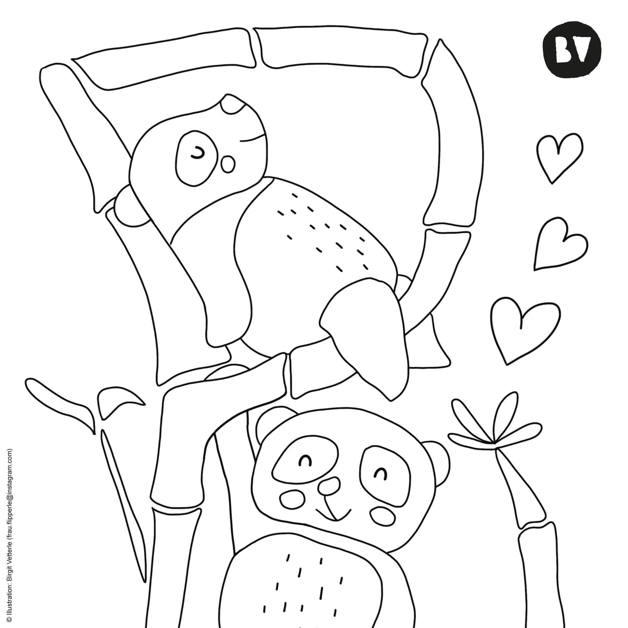 Ausmalbild P wie… Panda von Birgit Vetterle