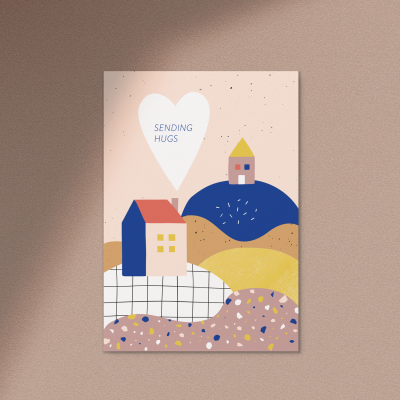 Postkarte Sending Hugs von Anna Beddig