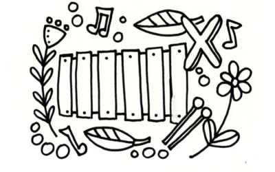 Ausmalbild X wie… Xylofon von Kreacaro