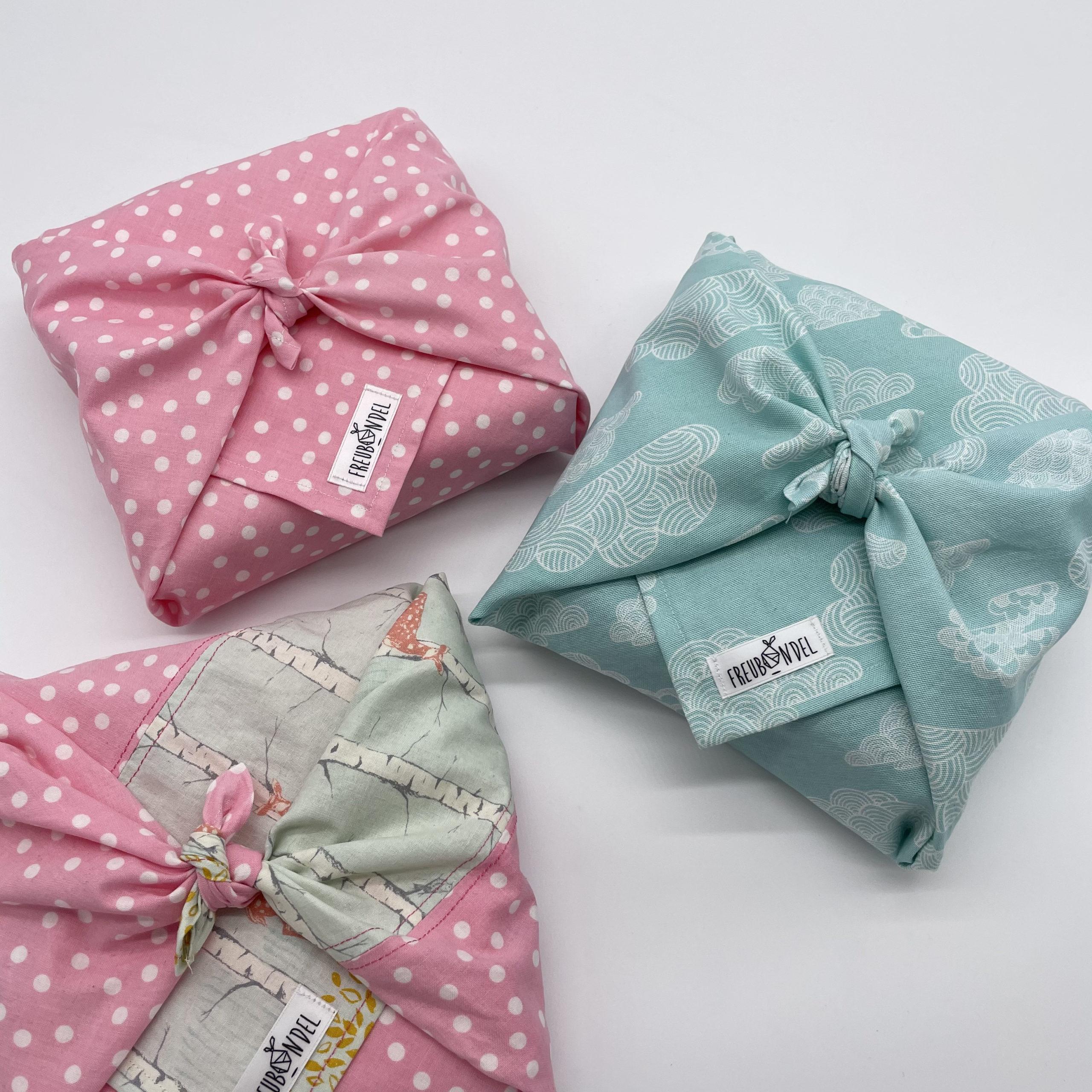 Geschenkverpackung: Upcycling Freubündel-Tuch aus Bio-Baumwolle
